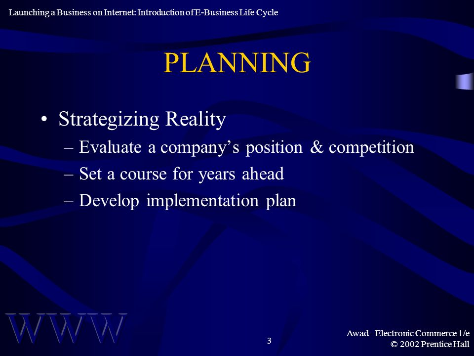 Awad –Electronic Commerce 1/e © 2002 Prentice Hall 3 PLANNING Strategizing Reality –Evaluate a companys position & competition –Set a course for years ahead –Develop implementation plan Launching a Business on Internet: Introduction of E-Business Life Cycle