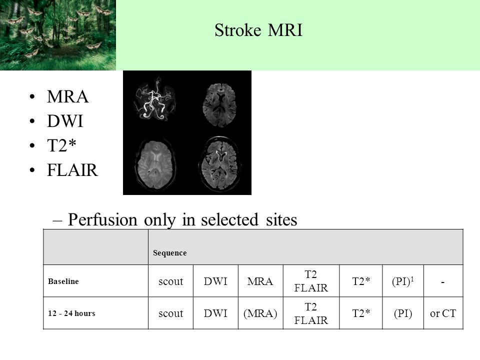 Stroke MRI MRA DWI T2* FLAIR –Perfusion only in selected sites Sequence Baseline scoutDWIMRA T2 FLAIR T2*(PI) hours scoutDWI(MRA) T2 FLAIR T2*(PI)or CT