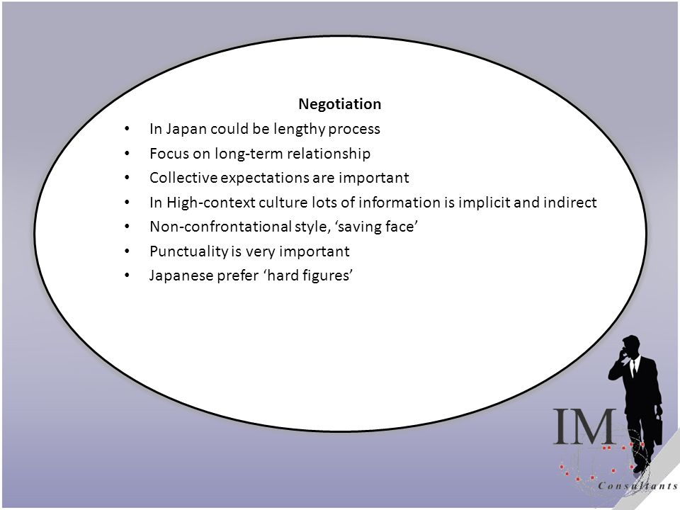 Title Negotiation In Japan could be lengthy process Focus on long-term relationship Collective expectations are important In High-context culture lots of information is implicit and indirect Non-confrontational style, saving face Punctuality is very important Japanese prefer hard figures