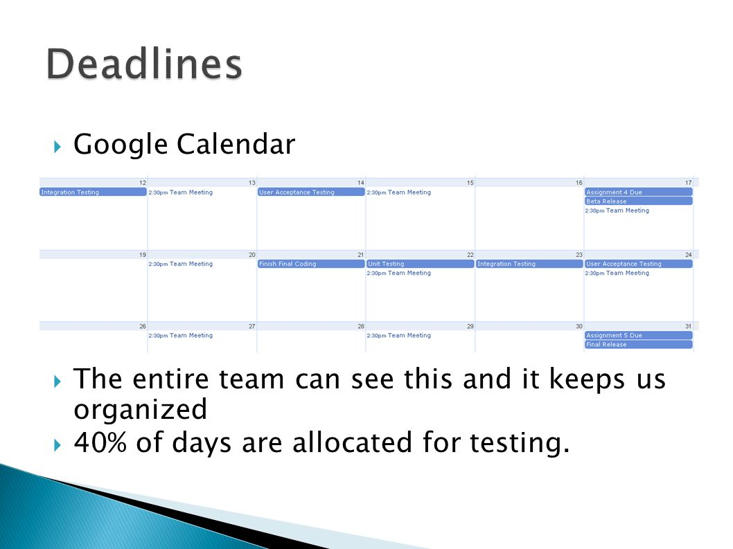 Google Calendar The entire team can see this and it keeps us organized 40% of days are allocated for testing.