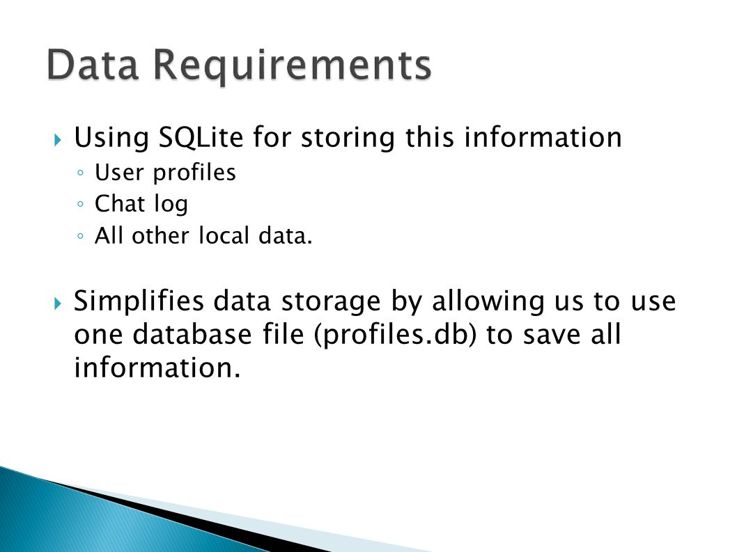 Using SQLite for storing this information User profiles Chat log All other local data.
