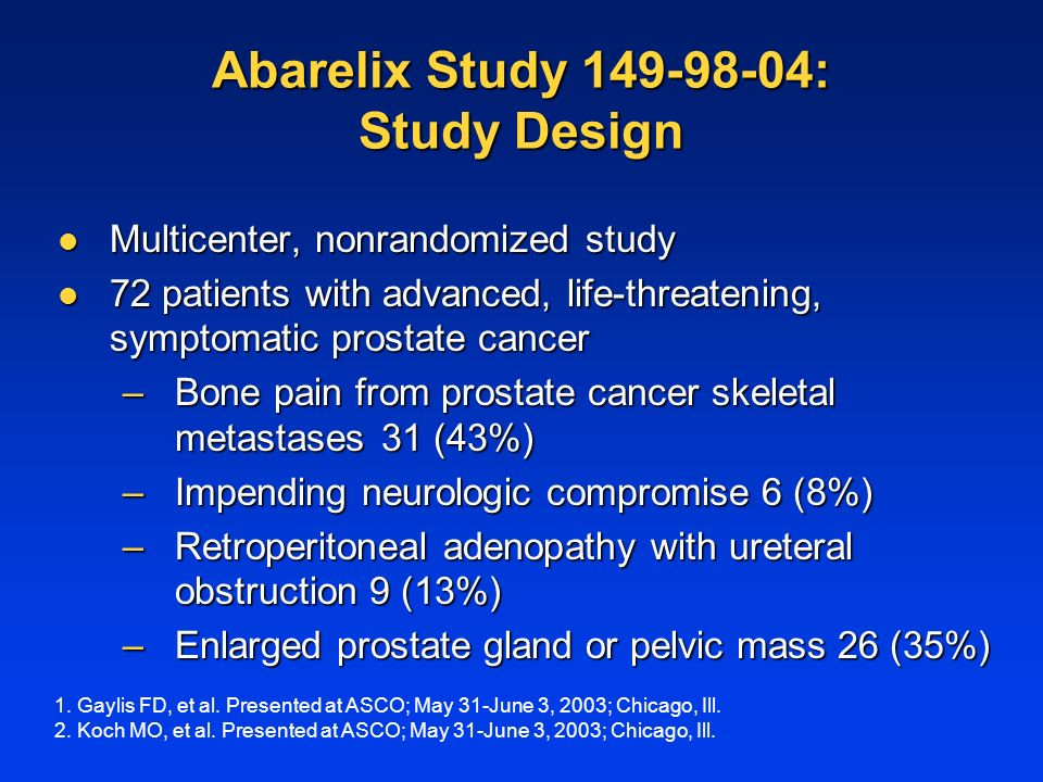 Abarelix Study : Study Design Multicenter, nonrandomized study Multicenter, nonrandomized study 72 patients with advanced, life-threatening, symptomatic prostate cancer 72 patients with advanced, life-threatening, symptomatic prostate cancer –Bone pain from prostate cancer skeletal metastases 31 (43%) –Impending neurologic compromise 6 (8%) –Retroperitoneal adenopathy with ureteral obstruction 9 (13%) –Enlarged prostate gland or pelvic mass 26 (35%) 1.