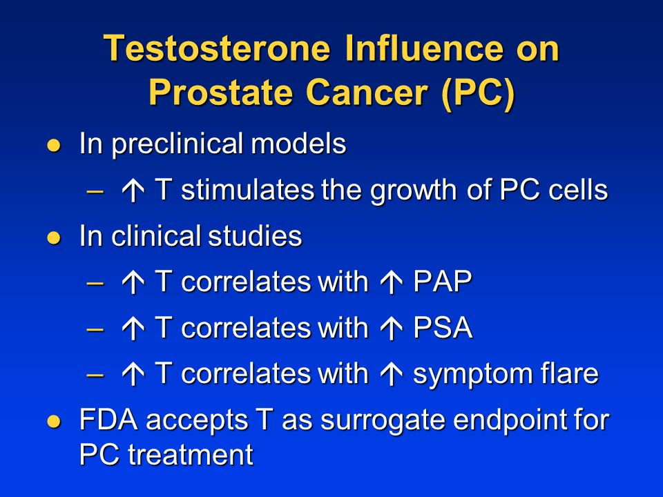 Testosterone Influence on Prostate Cancer (PC) In preclinical models In preclinical models – T stimulates the growth of PC cells In clinical studies In clinical studies – T correlates with PAP – T correlates with PSA – T correlates with symptom flare FDA accepts T as surrogate endpoint for PC treatment FDA accepts T as surrogate endpoint for PC treatment