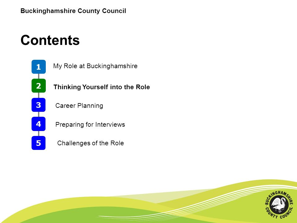 Contents 1 2 My Role at Buckinghamshire 3 Thinking Yourself into the Role 4 Preparing for Interviews 5 Challenges of the Role Career Planning