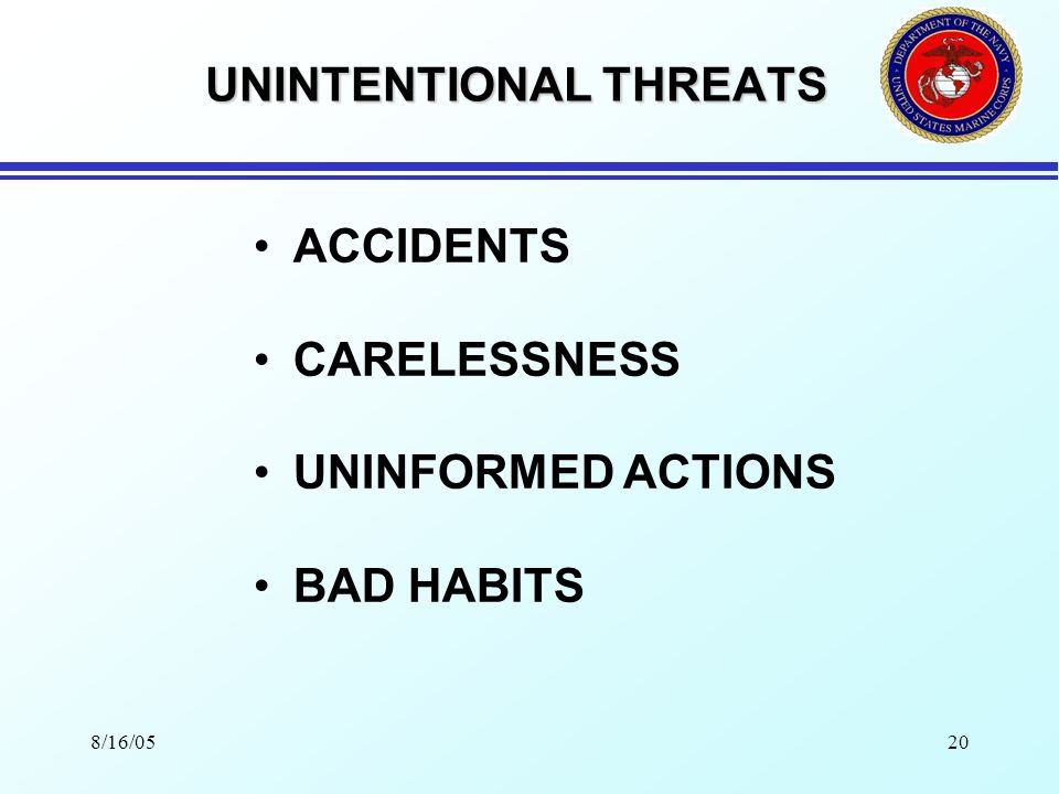 8/16/0519 THREAT CATEGORIES UNINTENTIONAL INTENTIONAL NATURAL
