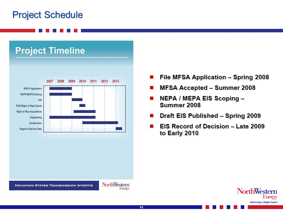 11 Project Schedule File MFSA Application – Spring 2008 File MFSA Application – Spring 2008 MFSA Accepted – Summer 2008 MFSA Accepted – Summer 2008 NEPA / MEPA EIS Scoping – Summer 2008 NEPA / MEPA EIS Scoping – Summer 2008 Draft EIS Published – Spring 2009 Draft EIS Published – Spring 2009 EIS Record of Decision – Late 2009 to Early 2010 EIS Record of Decision – Late 2009 to Early 2010