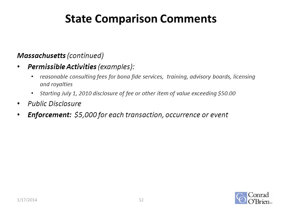 State Comparison Comments Massachusetts (continued) Permissible Activities (examples): reasonable consulting fees for bona fide services, training, advisory boards, licensing and royalties Starting July 1, 2010 disclosure of fee or other item of value exceeding $50.00 Public Disclosure Enforcement: $5,000 for each transaction, occurrence or event 1/17/201412