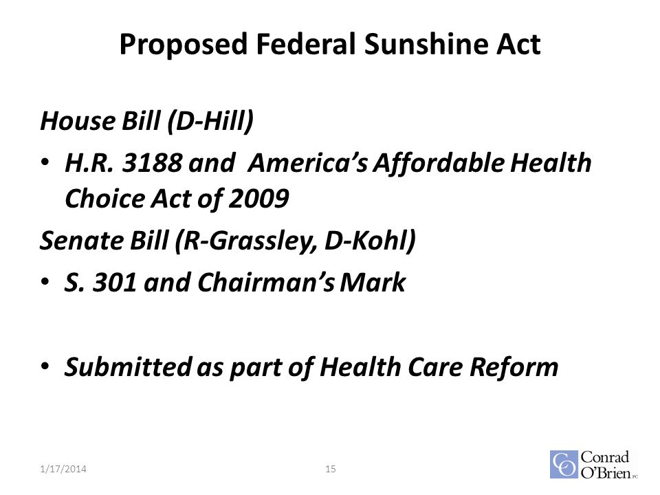 Proposed Federal Sunshine Act House Bill (D-Hill) H.R.