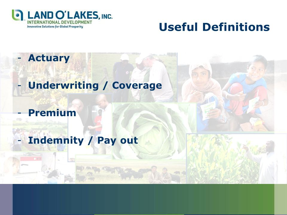 Useful Definitions -Actuary -Underwriting / Coverage -Premium -Indemnity / Pay out