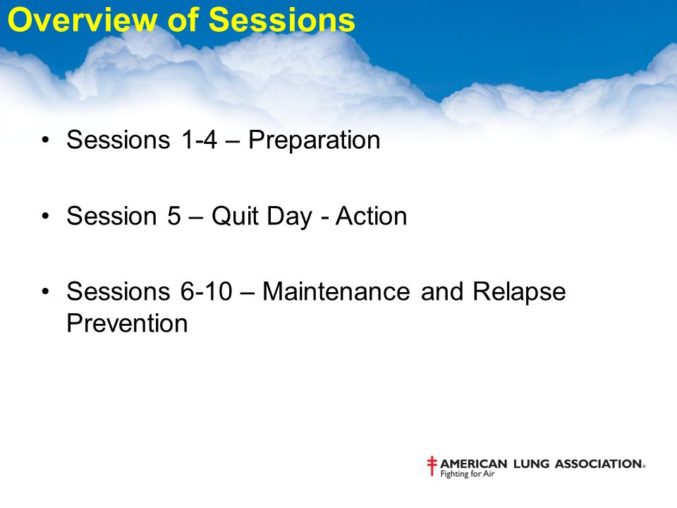 Overview of Sessions Sessions 1-4 – Preparation Session 5 – Quit Day - Action Sessions 6-10 – Maintenance and Relapse Prevention
