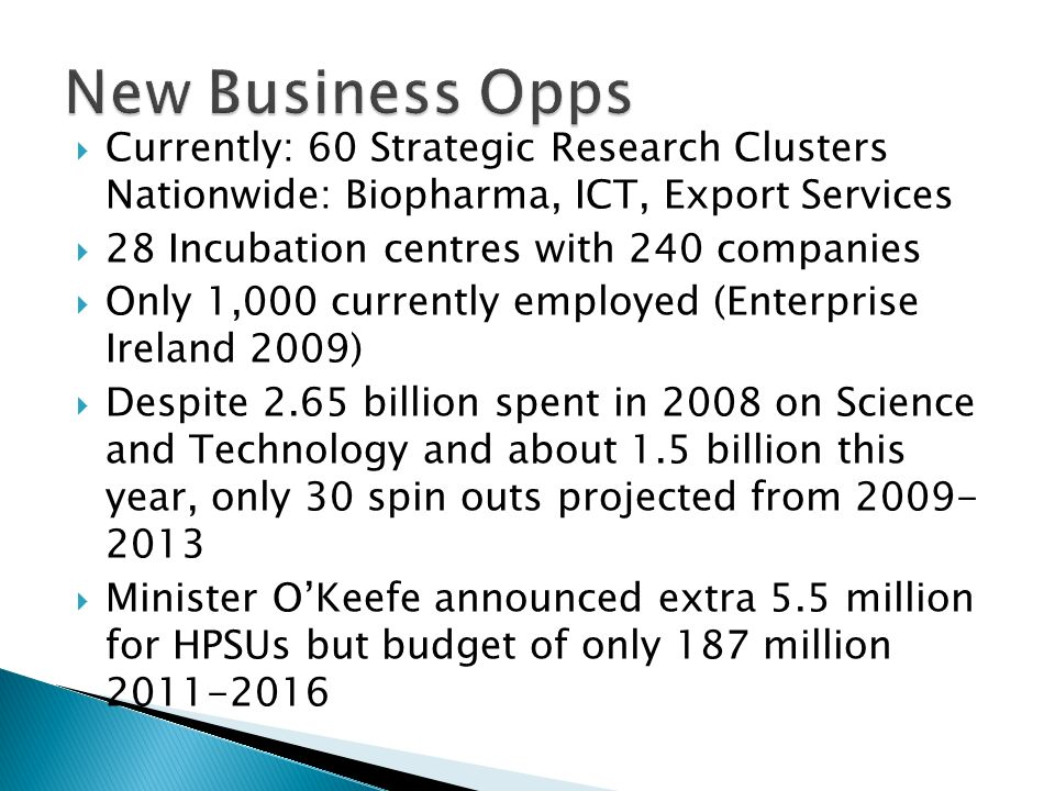 Currently: 60 Strategic Research Clusters Nationwide: Biopharma, ICT, Export Services 28 Incubation centres with 240 companies Only 1,000 currently employed (Enterprise Ireland 2009) Despite 2.65 billion spent in 2008 on Science and Technology and about 1.5 billion this year, only 30 spin outs projected from Minister OKeefe announced extra 5.5 million for HPSUs but budget of only 187 million
