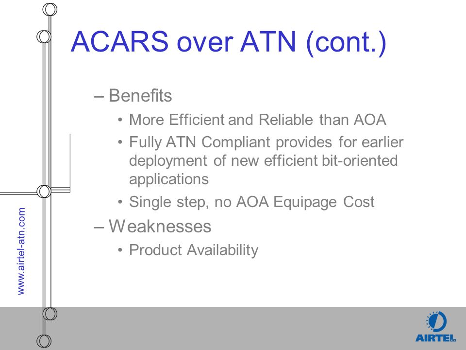 www.airtel-atn.com ACARS over ATN (cont.) –Benefits More Efficient and Reliable than AOA Fully ATN Compliant provides for earlier deployment of new efficient bit-oriented applications Single step, no AOA Equipage Cost –Weaknesses Product Availability