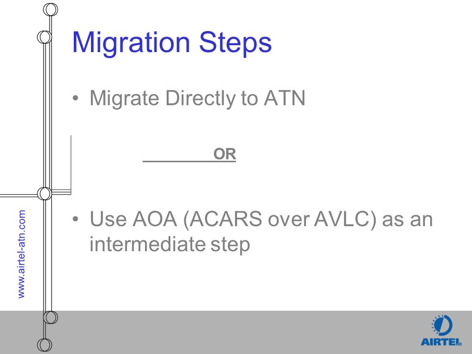 www.airtel-atn.com Migration Steps Migrate Directly to ATN OR Use AOA (ACARS over AVLC) as an intermediate step