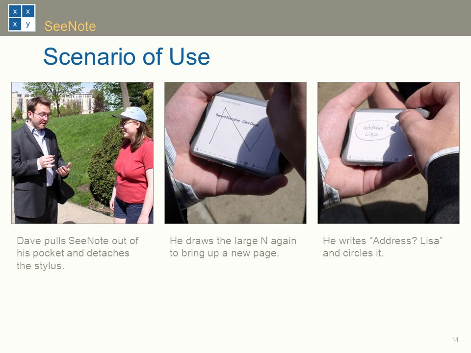 14 SeeNote Scenario of Use He writes Address. Lisa and circles it.