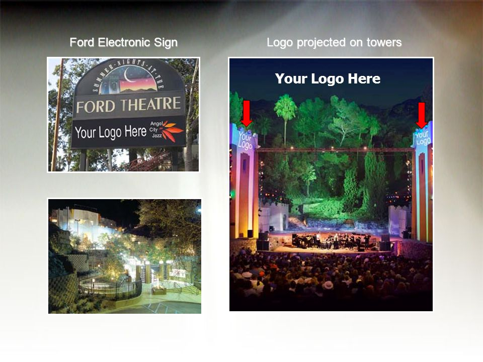 Your Logo Here Ford Electronic Sign Logo projected on towers