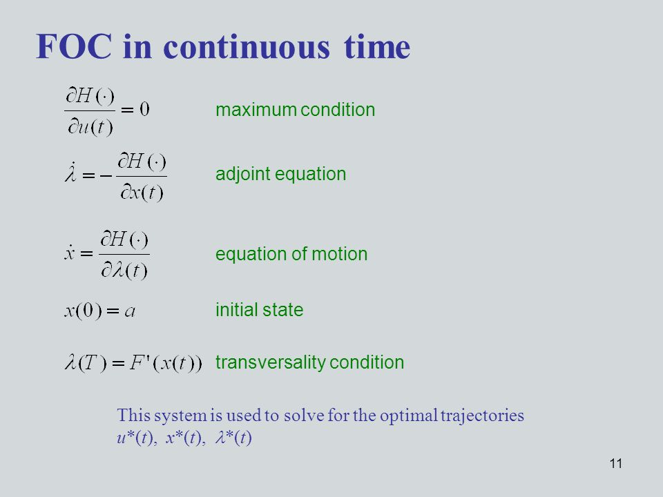 11 FOC in continuous time transversality condition maximum condition adjoint equation equation of motion initial state This system is used to solve for the optimal trajectories u*(t), x*(t), *(t)