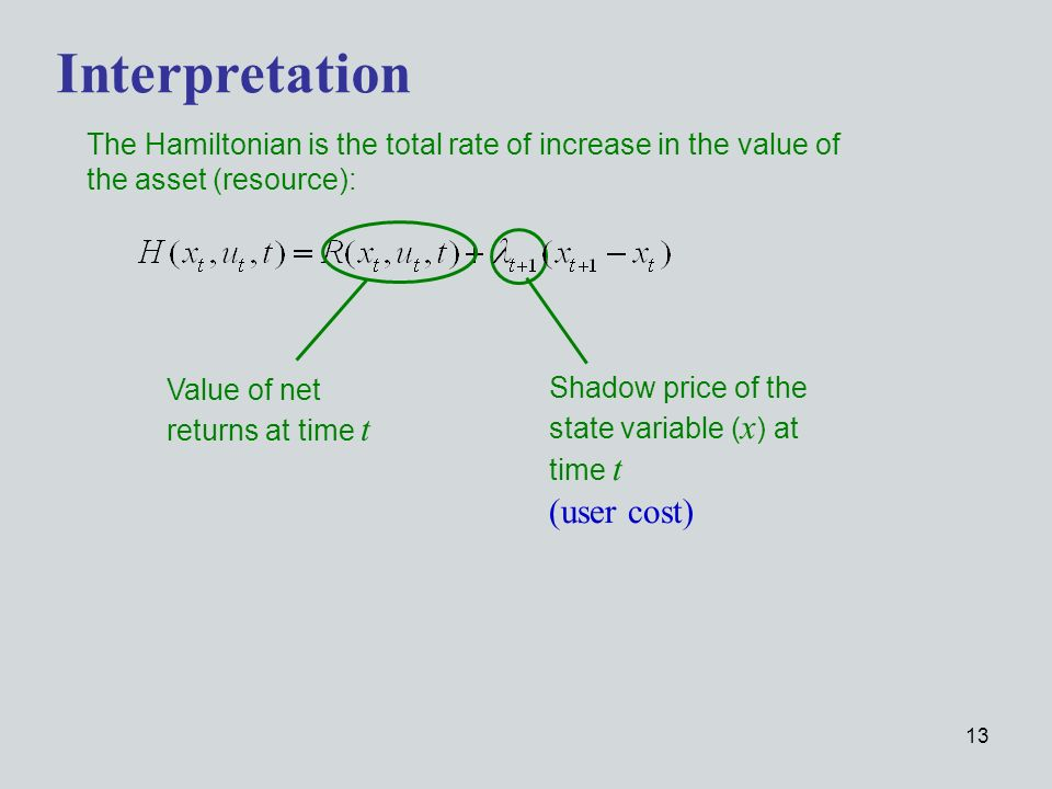13 The Hamiltonian is the total rate of increase in the value of the asset (resource): Interpretation Value of net returns at time t Shadow price of the state variable ( x ) at time t (user cost)