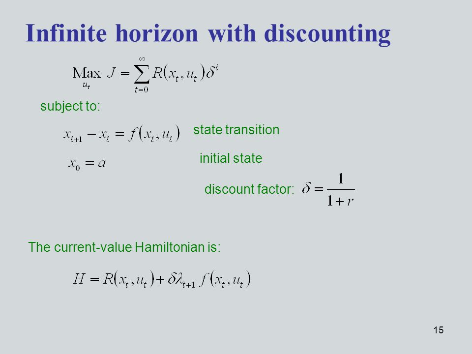 15 subject to: Infinite horizon with discounting The current-value Hamiltonian is: state transition initial state discount factor: