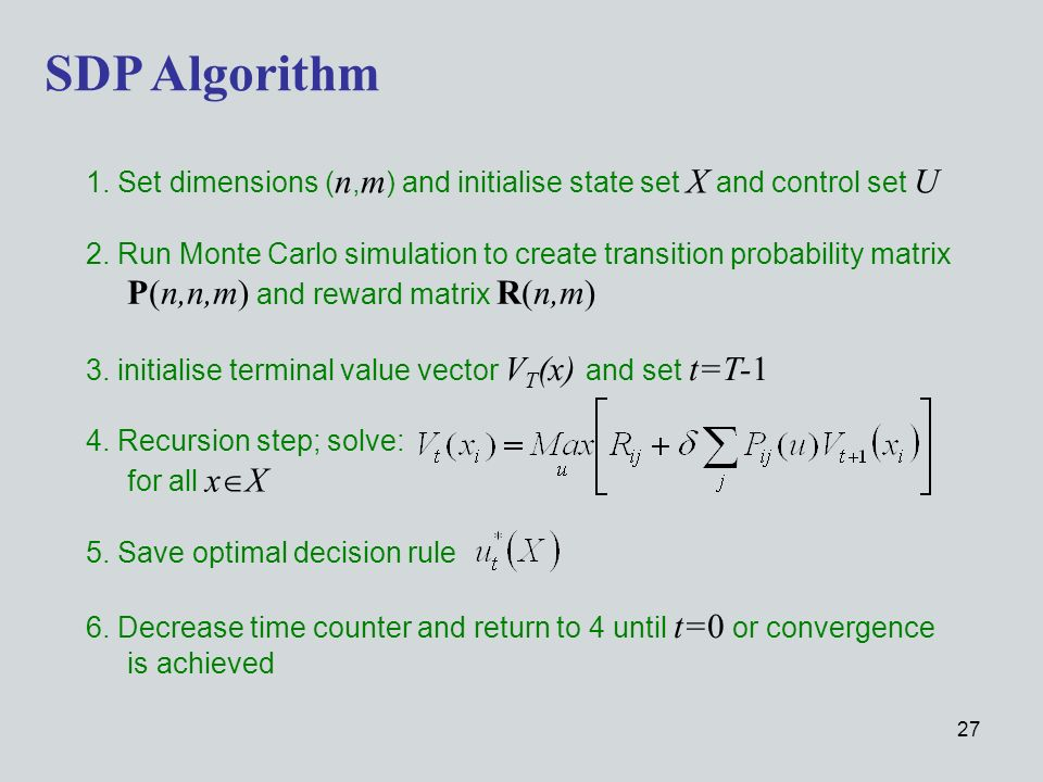 27 4. Recursion step; solve: for all x X SDP Algorithm 2.