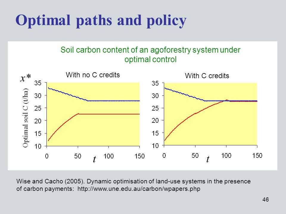 46 Optimal paths and policy t x* Optimal soil C (t/ha) t With C credits With no C credits Soil carbon content of an agoforestry system under optimal control Wise and Cacho (2005).