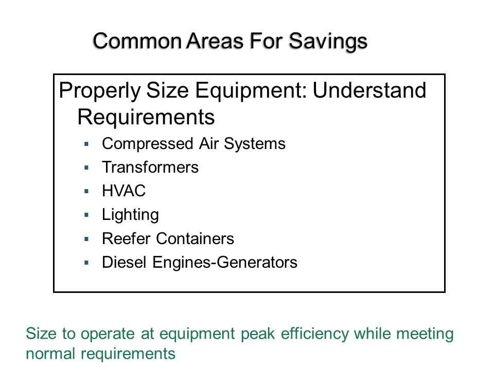 Common Areas For Savings Properly Size Equipment: Understand Requirements Compressed Air Systems Transformers HVAC Lighting Reefer Containers Diesel Engines-Generators Size to operate at equipment peak efficiency while meeting normal requirements