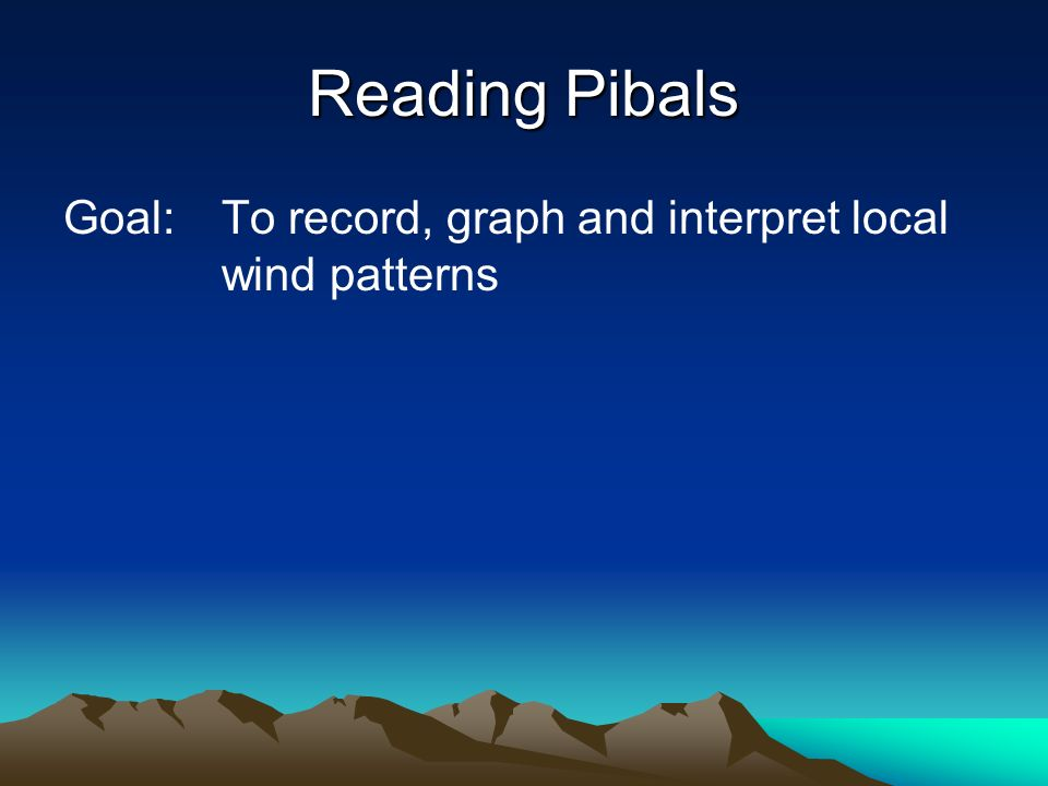 Reading Pibals Goal:To record, graph and interpret local wind patterns