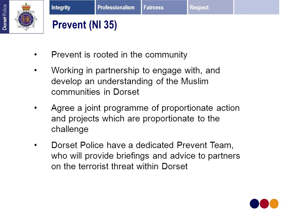 Prevent is rooted in the community Working in partnership to engage with, and develop an understanding of the Muslim communities in Dorset Agree a joint programme of proportionate action and projects which are proportionate to the challenge Dorset Police have a dedicated Prevent Team, who will provide briefings and advice to partners on the terrorist threat within Dorset Prevent (NI 35) IntegrityProfessionalismFairnessRespect