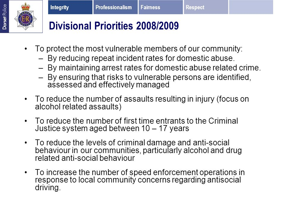 Divisional Priorities 2008/2009 To protect the most vulnerable members of our community: –By reducing repeat incident rates for domestic abuse.