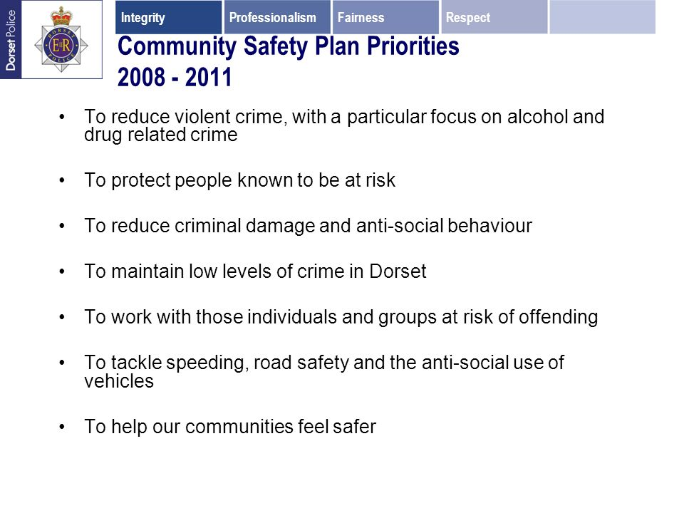 Community Safety Plan Priorities 2008 - 2011 To reduce violent crime, with a particular focus on alcohol and drug related crime To protect people known to be at risk To reduce criminal damage and anti-social behaviour To maintain low levels of crime in Dorset To work with those individuals and groups at risk of offending To tackle speeding, road safety and the anti-social use of vehicles To help our communities feel safer IntegrityProfessionalismFairnessRespect
