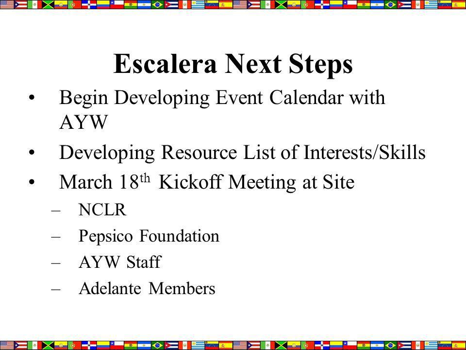 Escalera Next Steps Begin Developing Event Calendar with AYW Developing Resource List of Interests/Skills March 18 th Kickoff Meeting at Site –NCLR –Pepsico Foundation –AYW Staff –Adelante Members