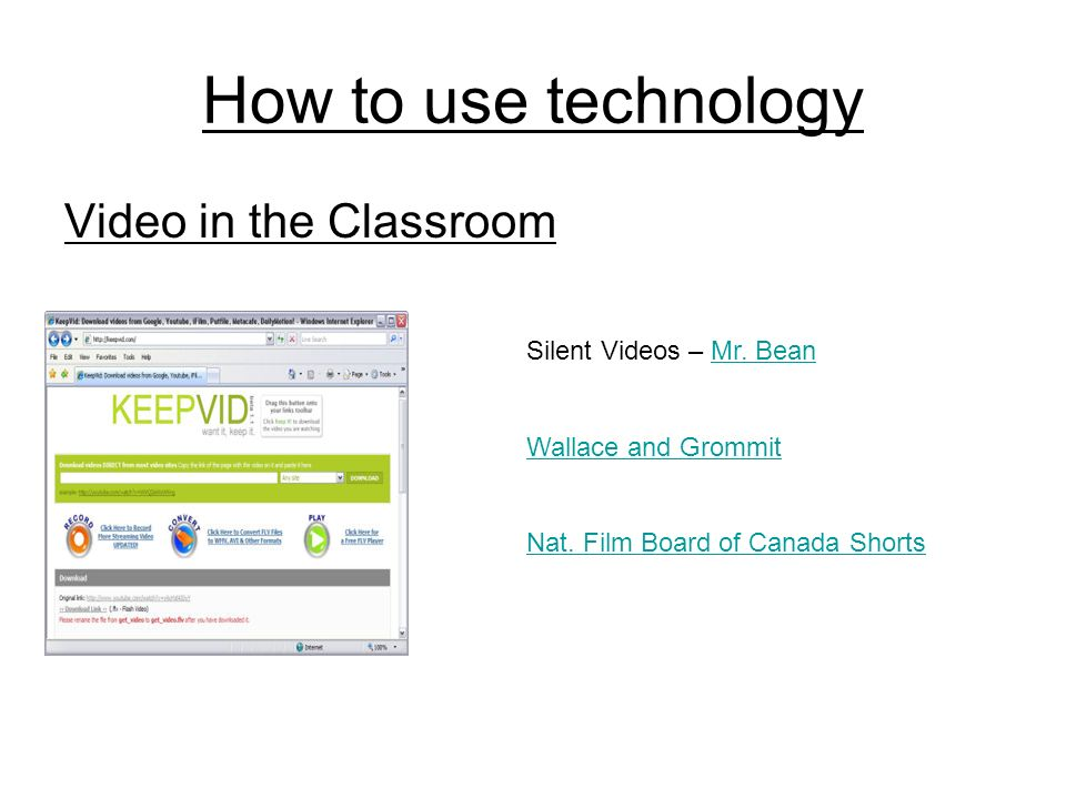How to use technology Video in the Classroom Silent Videos – Mr.