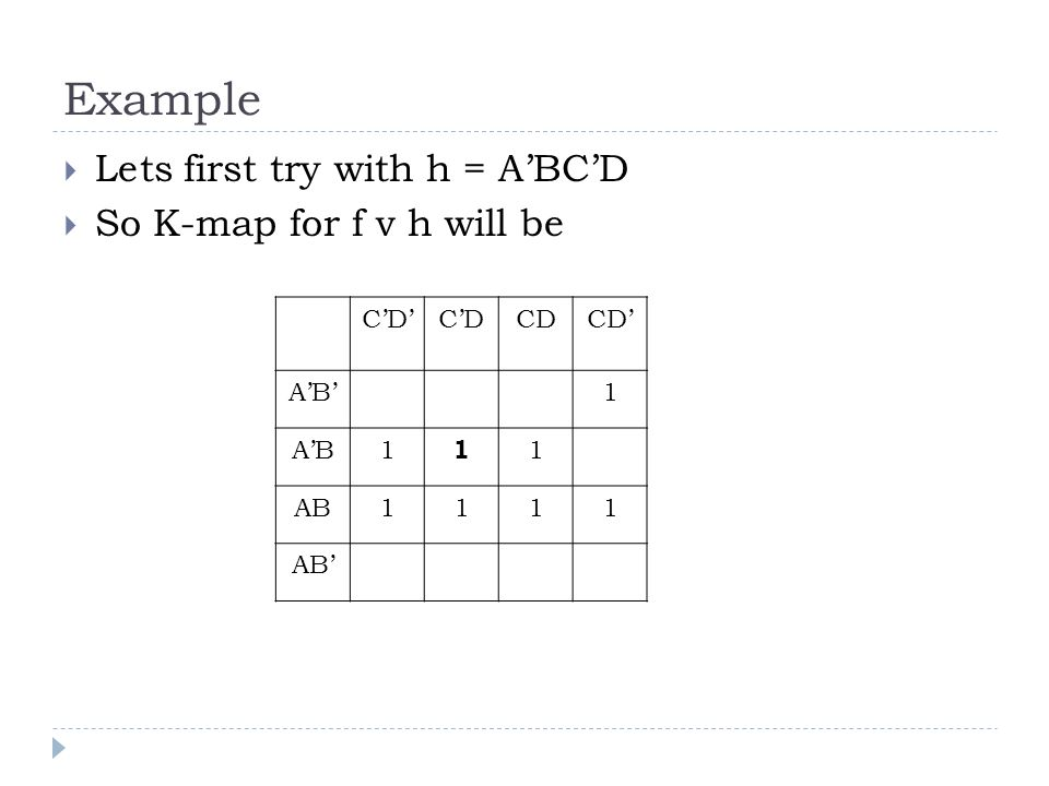 Example Lets first try with h = ABCD So K-map for f v h will be CD A CD AB
