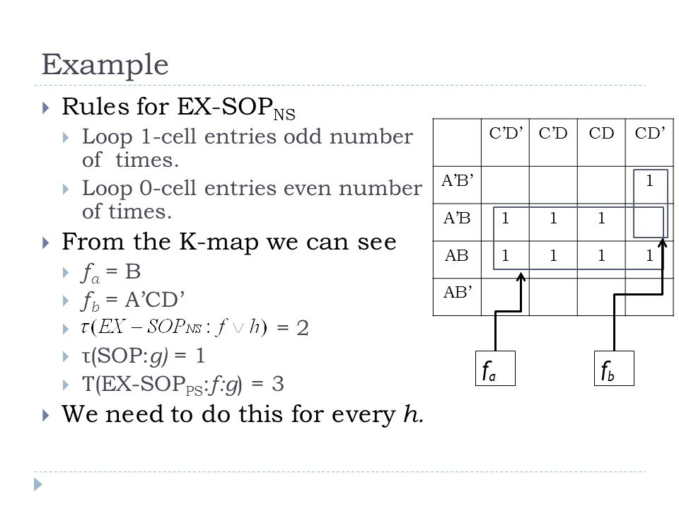 Example Rules for EX-SOP NS Loop 1-cell entries odd number of times.