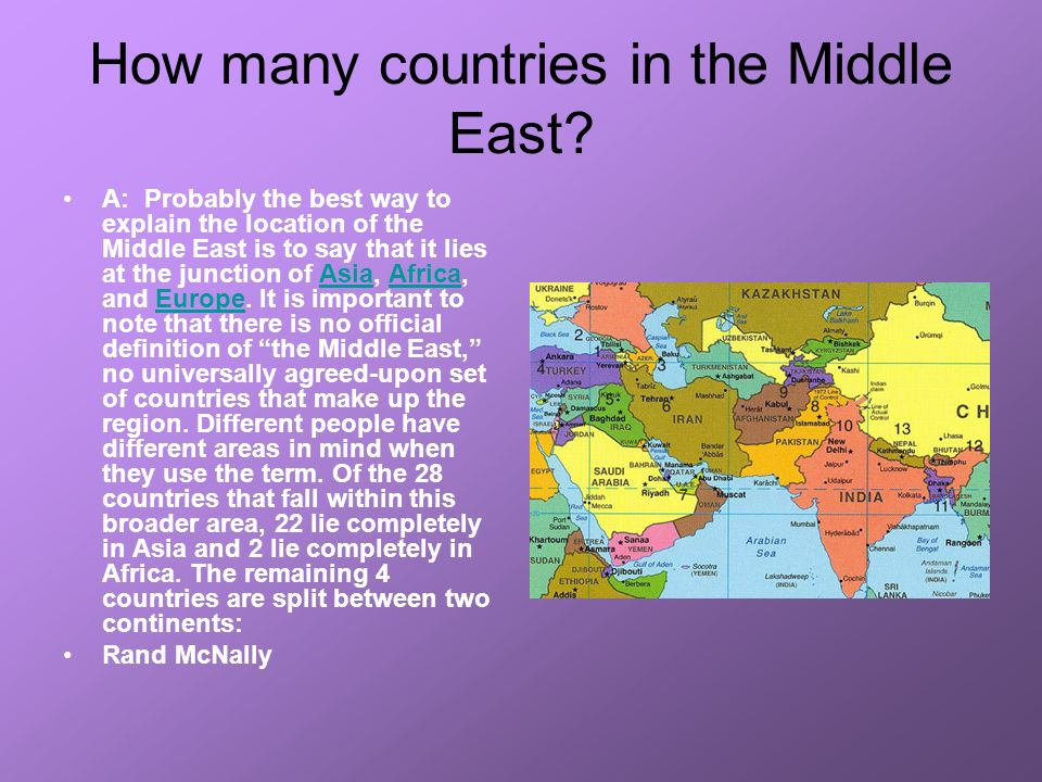 How many countries in the Middle East.