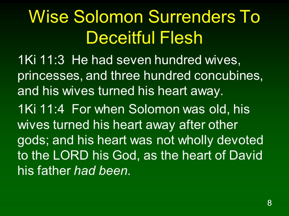 8 Wise Solomon Surrenders To Deceitful Flesh 1Ki 11:3 He had seven hundred wives, princesses, and three hundred concubines, and his wives turned his heart away.