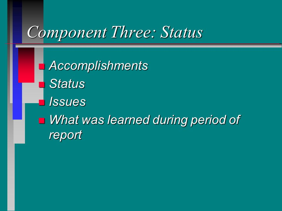 Component Three: Status n Accomplishments n Status n Issues n What was learned during period of report