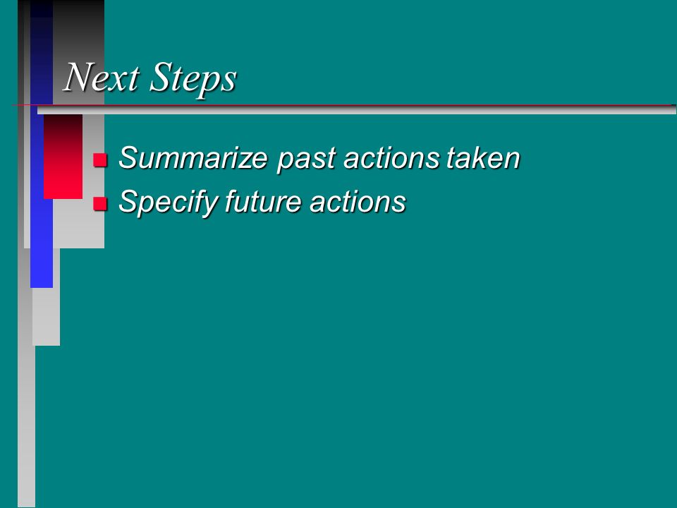 Next Steps n Summarize past actions taken n Specify future actions