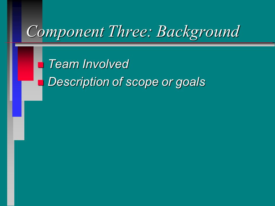 Component Three: Background n Team Involved n Description of scope or goals