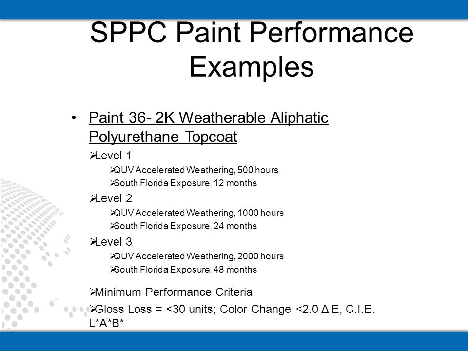 Paint 36- 2K Weatherable Aliphatic Polyurethane Topcoat Level 1 QUV Accelerated Weathering, 500 hours South Florida Exposure, 12 months Level 2 QUV Accelerated Weathering, 1000 hours South Florida Exposure, 24 months Level 3 QUV Accelerated Weathering, 2000 hours South Florida Exposure, 48 months Minimum Performance Criteria Gloss Loss = <30 units; Color Change <2.0 Δ E, C.I.E.