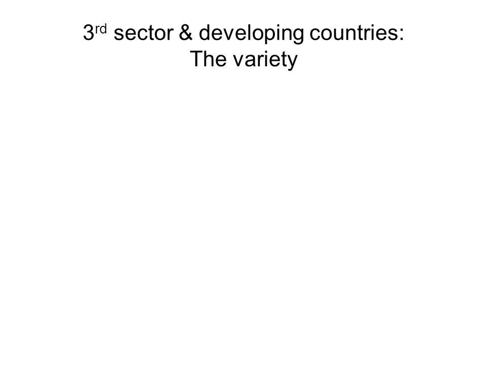 3 rd sector & developing countries: The variety