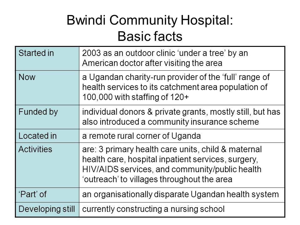 Started in2003 as an outdoor clinic under a tree by an American doctor after visiting the area Nowa Ugandan charity-run provider of the full range of health services to its catchment area population of 100,000 with staffing of 120+ Funded byindividual donors & private grants, mostly still, but has also introduced a community insurance scheme Located ina remote rural corner of Uganda Activitiesare: 3 primary health care units, child & maternal health care, hospital inpatient services, surgery, HIV/AIDS services, and community/public health outreach to villages throughout the area Part ofan organisationally disparate Ugandan health system Developing stillcurrently constructing a nursing school