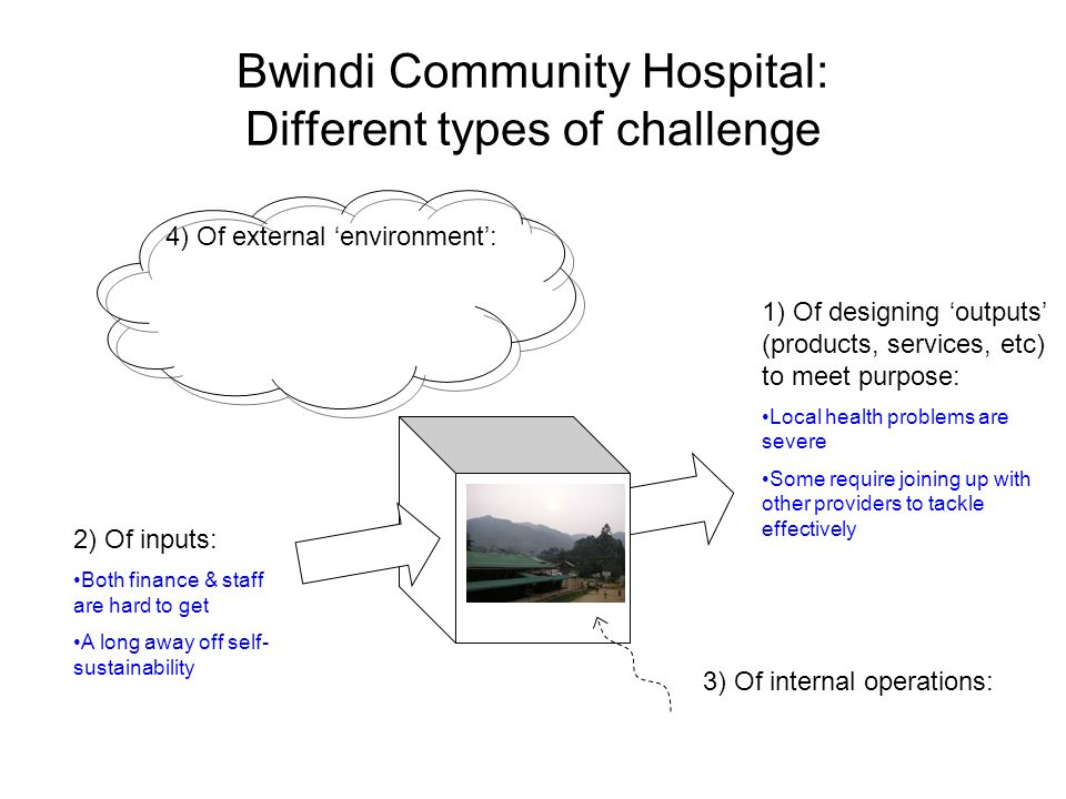 Bwindi Community Hospital: Different types of challenge 1) Of designing outputs (products, services, etc) to meet purpose: Local health problems are severe Some require joining up with other providers to tackle effectively 3) Of internal operations: 4) Of external environment: 2) Of inputs: Both finance & staff are hard to get A long away off self- sustainability