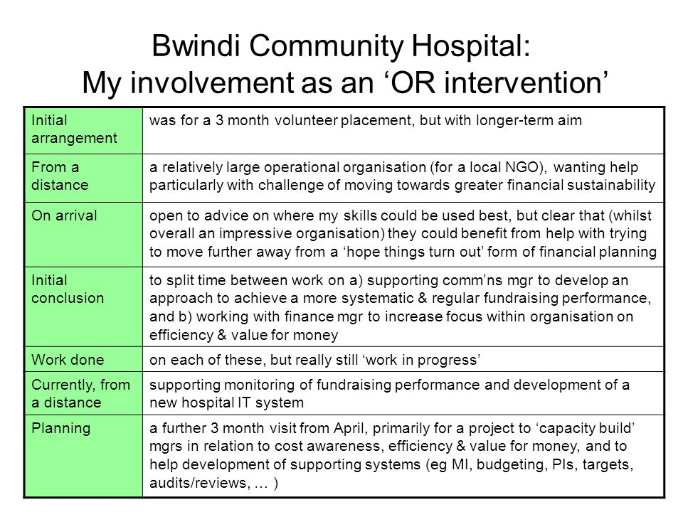 Bwindi Community Hospital: My involvement as an OR intervention Initial arrangement was for a 3 month volunteer placement, but with longer-term aim From a distance a relatively large operational organisation (for a local NGO), wanting help particularly with challenge of moving towards greater financial sustainability On arrivalopen to advice on where my skills could be used best, but clear that (whilst overall an impressive organisation) they could benefit from help with trying to move further away from a hope things turn out form of financial planning Initial conclusion to split time between work on a) supporting commns mgr to develop an approach to achieve a more systematic & regular fundraising performance, and b) working with finance mgr to increase focus within organisation on efficiency & value for money Work doneon each of these, but really still work in progress Currently, from a distance supporting monitoring of fundraising performance and development of a new hospital IT system Planninga further 3 month visit from April, primarily for a project to capacity build mgrs in relation to cost awareness, efficiency & value for money, and to help development of supporting systems (eg MI, budgeting, PIs, targets, audits/reviews, … )