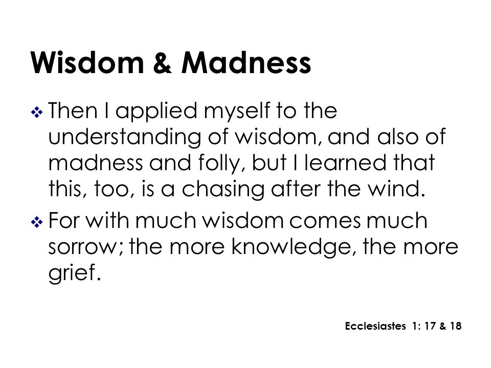 Wisdom & Madness Then I applied myself to the understanding of wisdom, and also of madness and folly, but I learned that this, too, is a chasing after the wind.