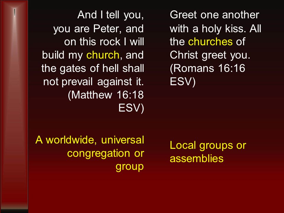 And I tell you, you are Peter, and on this rock I will build my church, and the gates of hell shall not prevail against it.