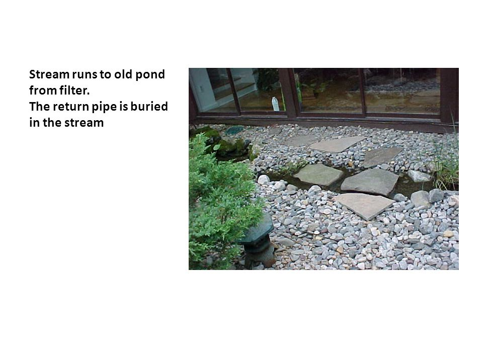 Stream runs to old pond from filter. The return pipe is buried in the stream