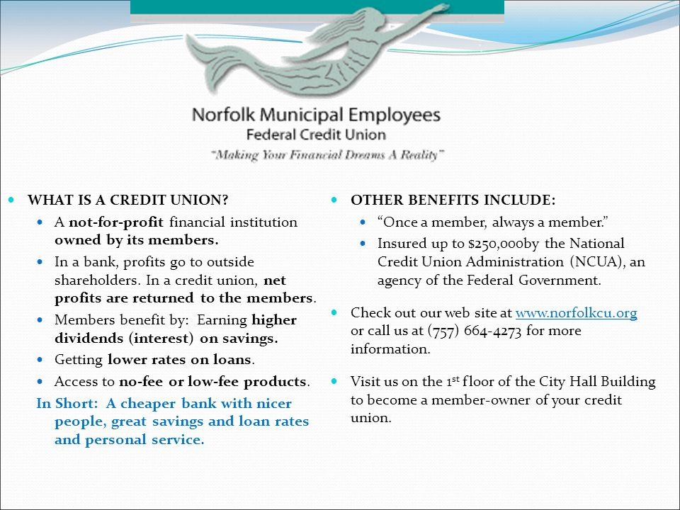 WHAT IS A CREDIT UNION. A notforprofit financial institution owned by its members.