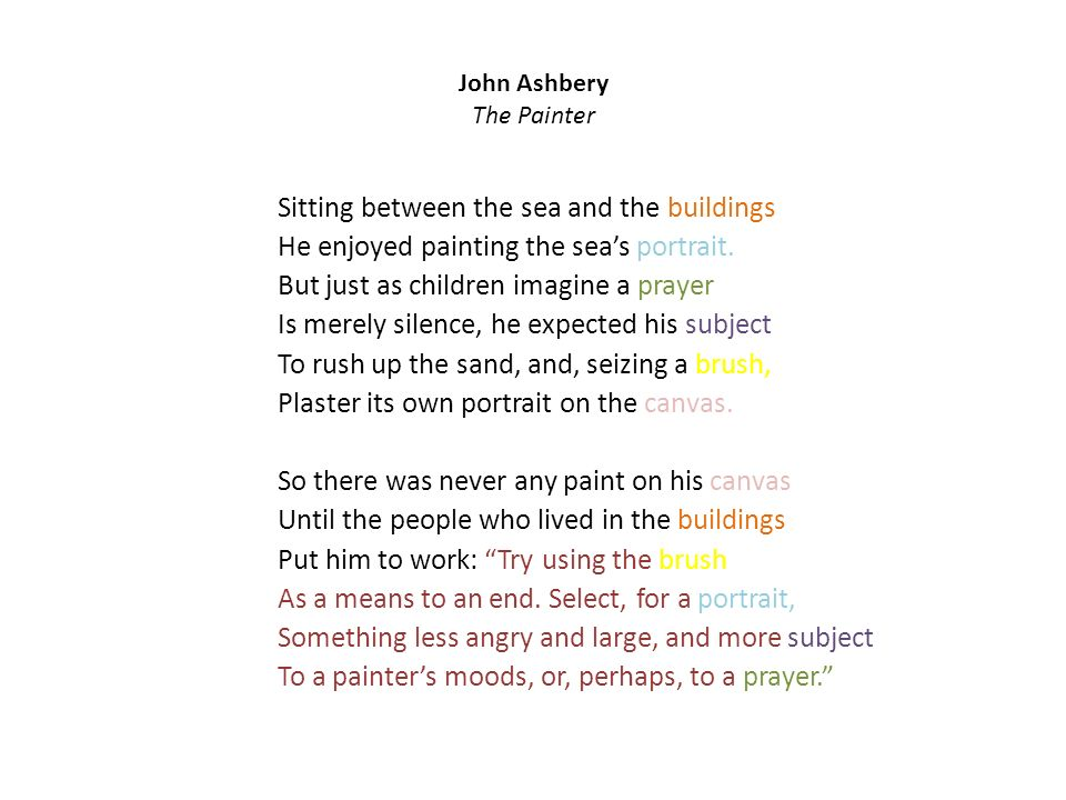 John Ashbery The Painter Sitting between the sea and the buildings He enjoyed painting the seas portrait.