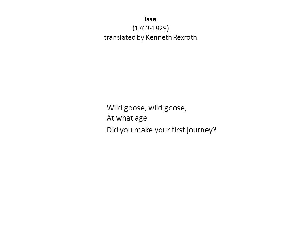 Issa ( ) translated by Kenneth Rexroth Wild goose, wild goose, At what age Did you make your first journey