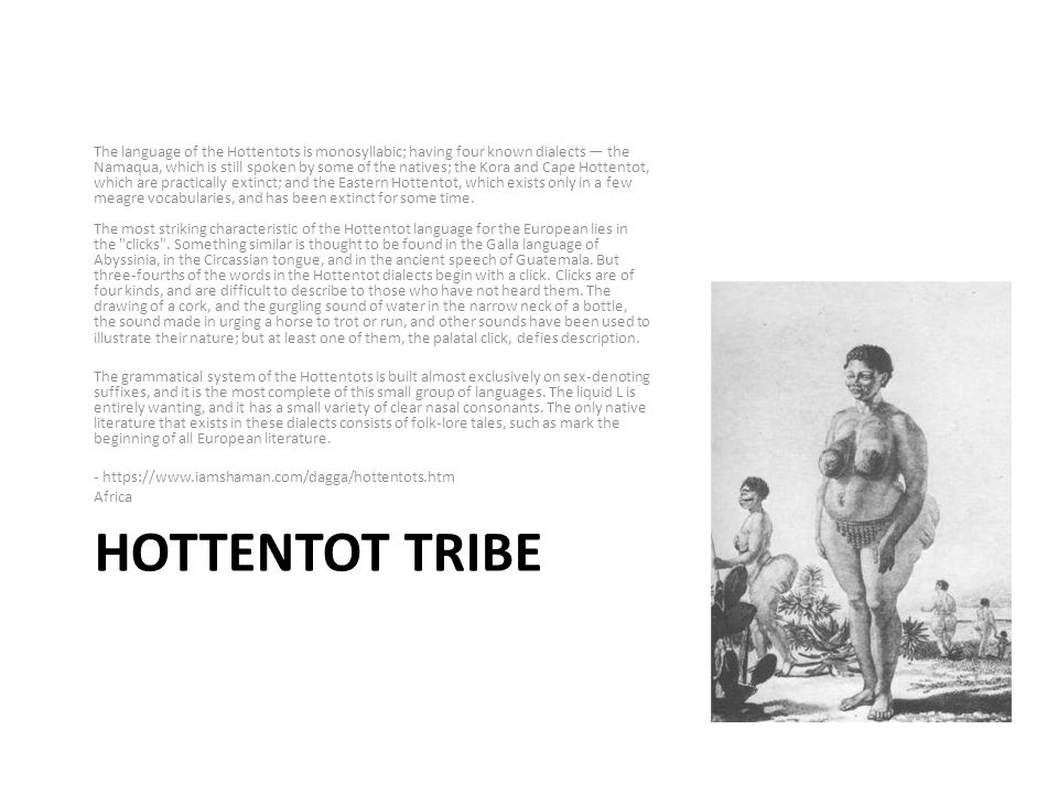 HOTTENTOT TRIBE The language of the Hottentots is monosyllabic; having four known dialects the Namaqua, which is still spoken by some of the natives; the Kora and Cape Hottentot, which are practically extinct; and the Eastern Hottentot, which exists only in a few meagre vocabularies, and has been extinct for some time.